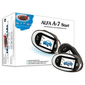 """Диалоговая автосигнализация """"Alfa A-7 Start"""" с обратной связью и автозапуском, 2-мя ЖК-брелоками. Без сирены"""